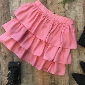 Alice + Olivia Pink Ruffled Tiered Skirt